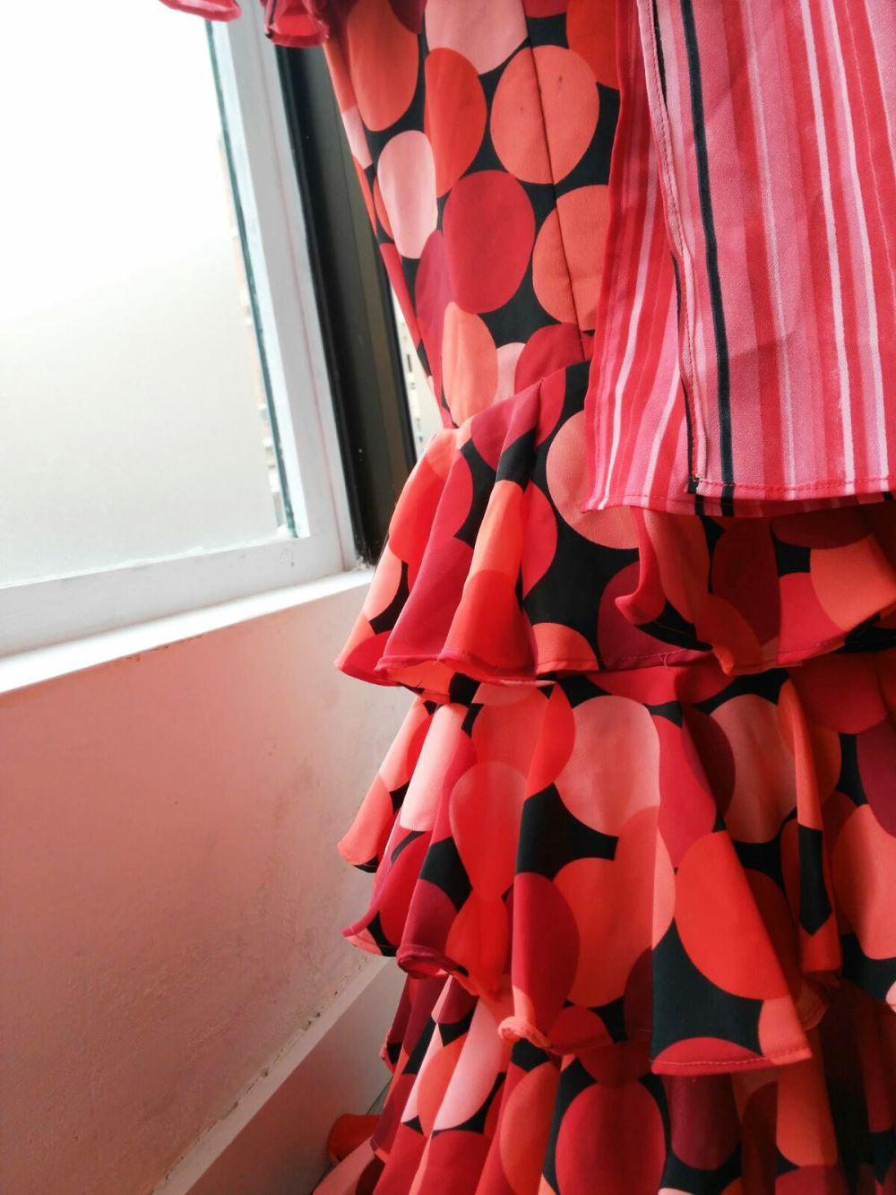 Detalle volantes de falda. Colección flamenca África Moreno 2017